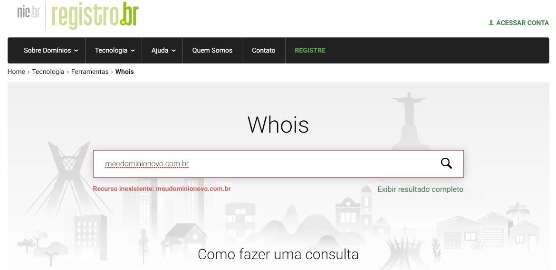 Pesquisa de Domínio na Registro.br